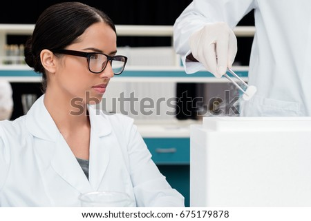 Young Female Scientist Lab Coat Wearing Stock Photo 493164472 ...