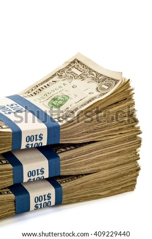 Cropped shot of stacks of money shot at an angle where they cannot be copied or duplicated/ Stacks Of Money  - stock photo
