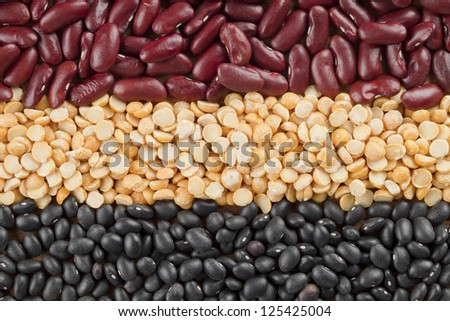 Cropped shot of three types of food grains in a macro image.