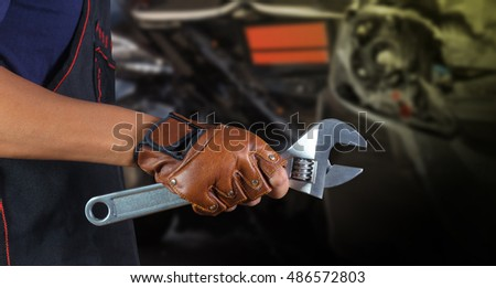Cropped view of Hand with wrench, Auto mechanic