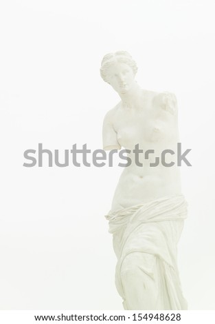cropped view of replica of Venus de Milo isolated on white - stock photo