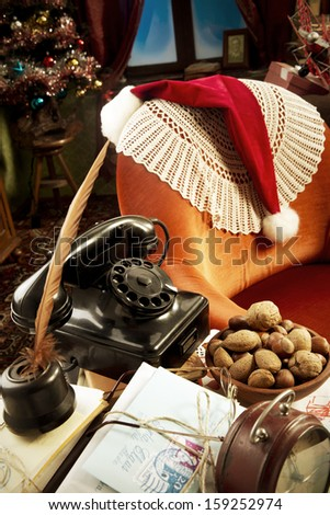 Cropped view of Santa Claus's home - stock photo
