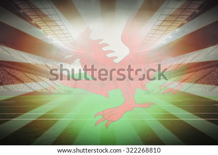 Cropped Wales flag against linear design - stock photo