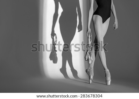 Cropping portrait of the legs graceful ballerina in a studio  - stock photo