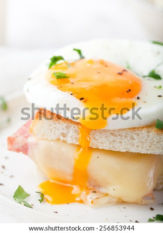 Croque madame, egg, ham, cheese sandwich with a cup of coffee. Traditional French cuisine. Breakfast table. - stock photo