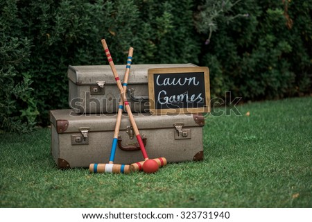 Croquet and Quoits games - stock photo