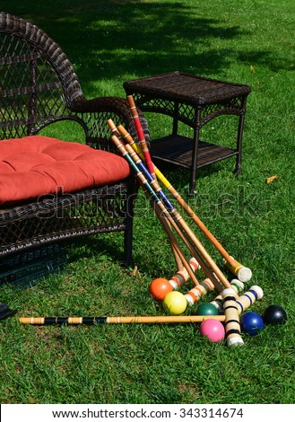 Croquet Equipment Ready to Play - stock photo