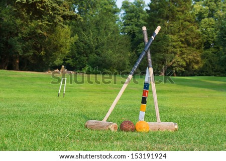 Croquet equipment set up ready for use. - stock photo