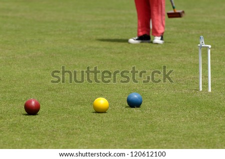 Croquet player plays Croquet in a club.  - stock photo