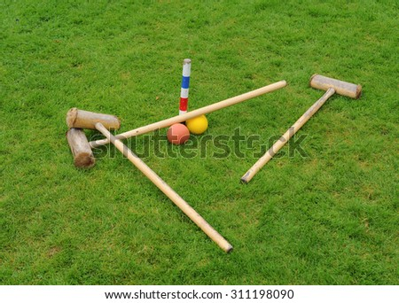 Croquet Set on a Lawn in Cheshire, England, UK - stock photo