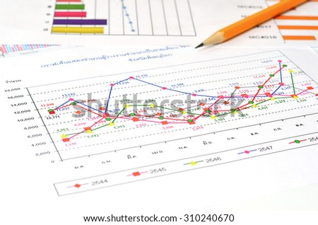 crose up graph on paper graph and pencil - stock photo