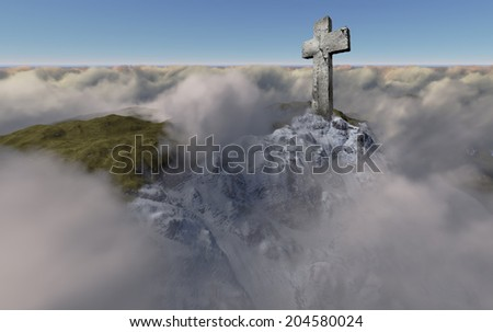Cross  above the clouds made in 3d software - stock photo