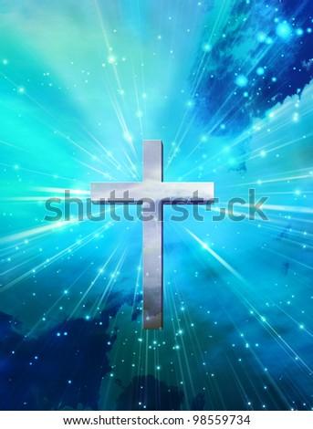 Cross and light - stock photo