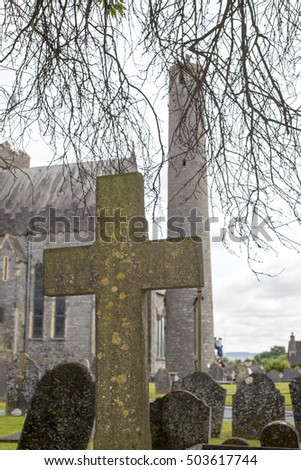 cross at ancient graveyard in St Caniceâ??s Cathedral in kilkenny city ireland