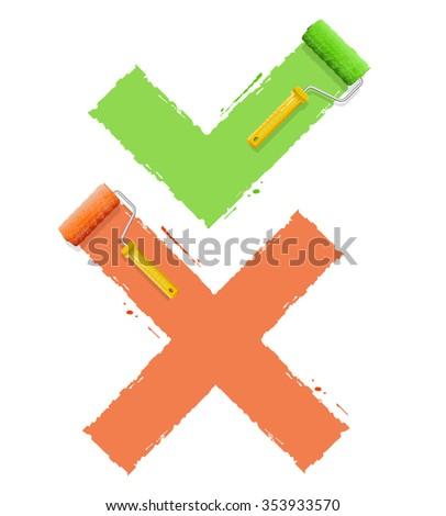Cross Check Symbol Yes or No. illustration - stock photo