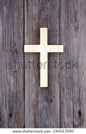 cross christian wooden wall old church background - stock photo