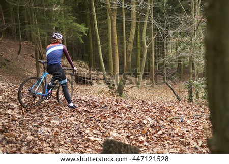 Cross-country cyclist pauses at the top of slope in a forest