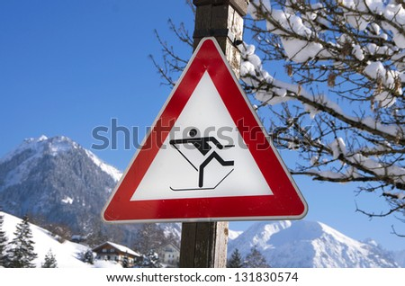 cross country sign in oberstdorf, birgsau, bavaria, allg���¤u, germany - stock photo