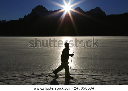 Cross country skier in idaho wilderness - stock photo