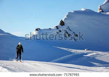 Cross country skiing at Kaprun glacier - stock photo