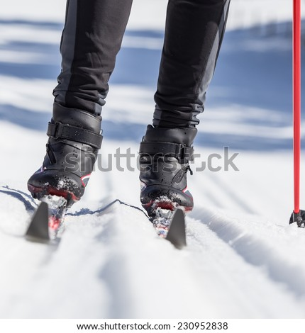 cross country skiing, close-up. - stock photo