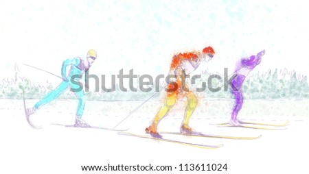 cross country skiing - - hand drawing picture - this is original grunge drawing - stock photo