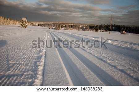 Cross country skiing maintained trail at Sumava national park