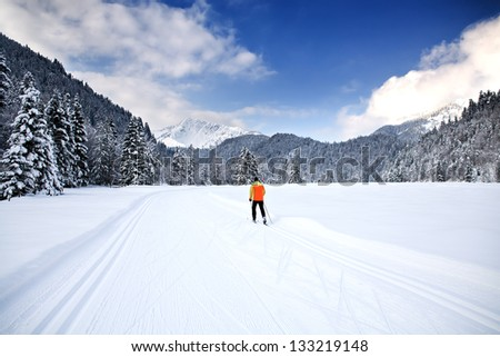 Cross-country skiing trail near Bayrischzell in the Alps, Bavaria, Germany - stock photo