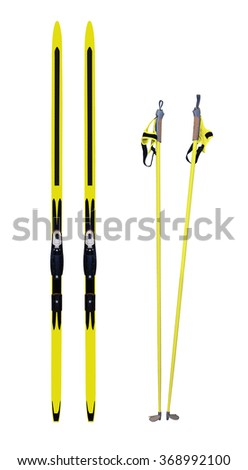 Cross-country skis and poles isolated on white background - stock photo