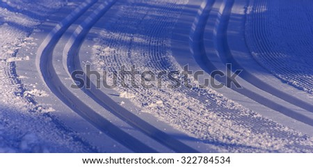 Cross-country tracks in excellent conditions. Newly fallen snow, forest, trees both sides.  - stock photo