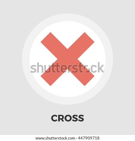 Cross flat icon isolated on the white background.