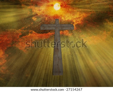 Cross floats in sky with new testament passages - stock photo