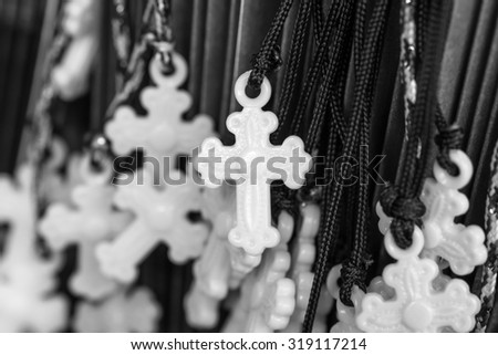 Cross for religion symbol in black and white color - stock photo