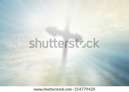 Cross for the abstract christian nature filters background with blank space for Your text or image - stock photo