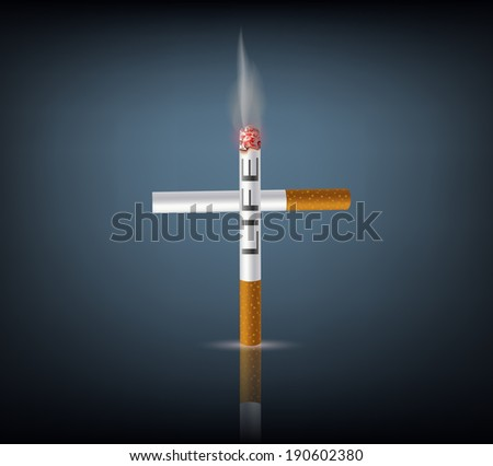 cross from cigarettes - stock photo