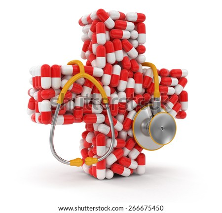 Cross from Pills and stethoscope (clipping path included) - stock photo