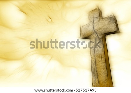 cross from stone and  sky made in 3d software