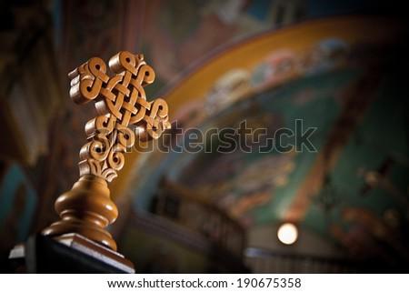 Cross Greek Orthodox Church Interior - Naxos - stock photo