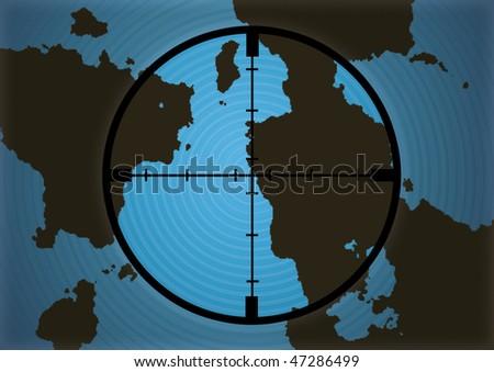 Cross hairs on World Map - Modern - stock photo