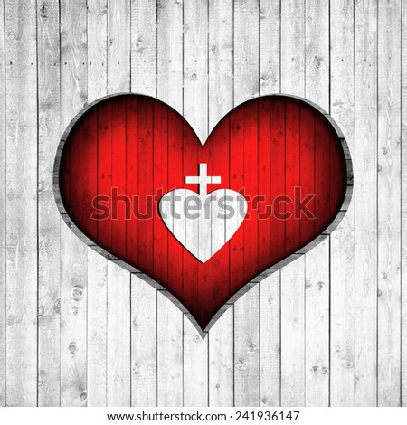 Cross, heart and wood background