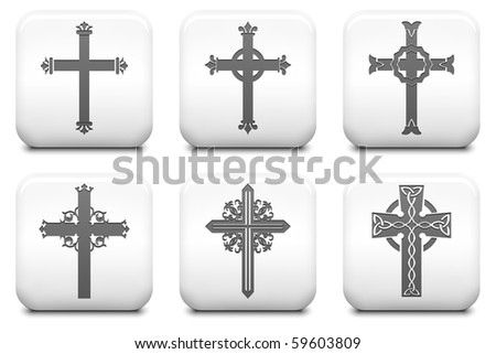 Cross Icons on Square Black and White Button Collection Original Illustration