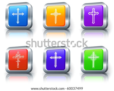 Cross Icons on Square Button with Metallic Rim Collection Original Illustration