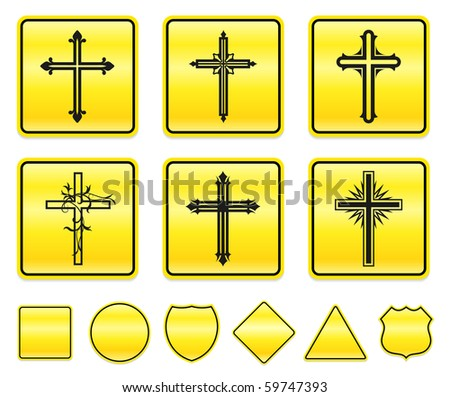 Cross Icons on Yellow Sign Button Collection Original Illustration