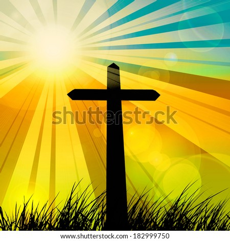 cross in a grass and sky  sunset background