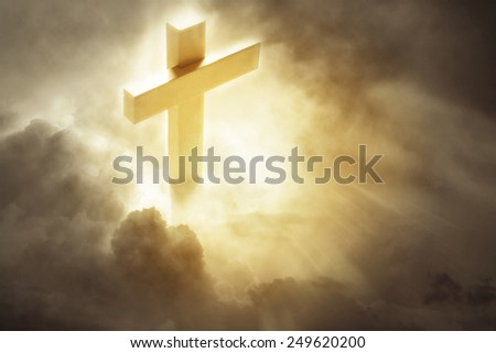 Cross in heavenly sky - stock photo