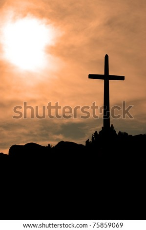 Cross in late afternoon sunlight; Mount Rubidoux; Riverside, California