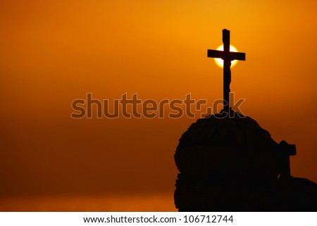 cross in sunset