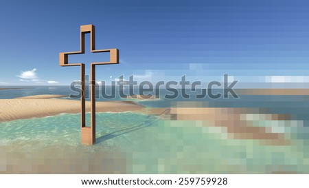 cross in water with shadow made  in 3d software - stock photo