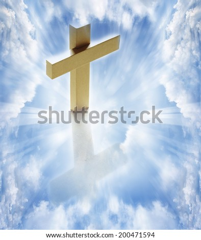 Cross in white clouds heavenly sky - stock photo