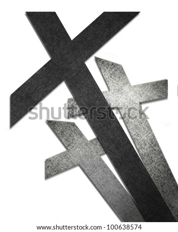 cross isolated on white background or abstract religious artwork of three crosses in black and white Easter Background or for Christian logo or Christian business card or church bulletin illustration - stock photo